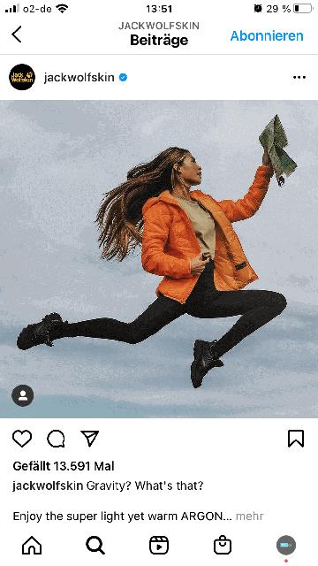 Marisa Hampe instagram beitrag zu jack wolfskin