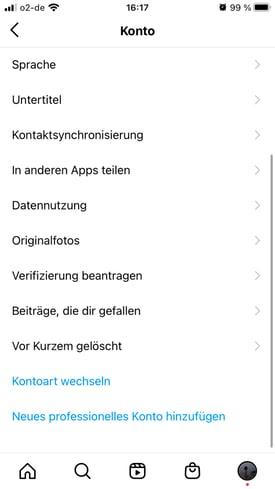 Instagram Konto details und einstellungen – hier kann man sehen, welche beiträge man mit like markiert hat