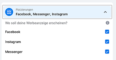 ausspielungen in facebook instagram und messenger ausgewählt