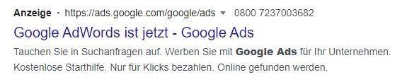 """Hinweis """"Anzeige"""" neben der URL in den Suchergebnissen"""