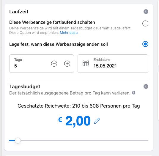 laufzeit und budget für eine anzeige im facebook business manager