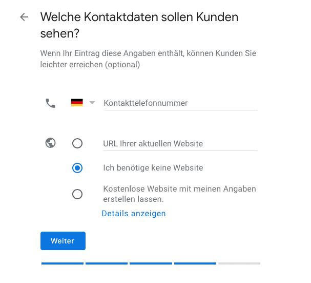 Google My Business Kontaktdaten für Kunden angeben