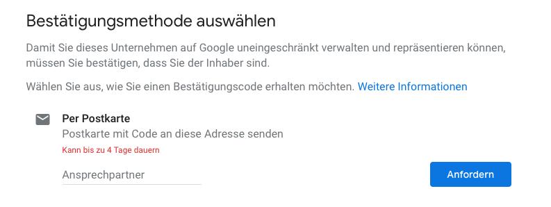 Google My Business Konto verifzieren durch Postkarte