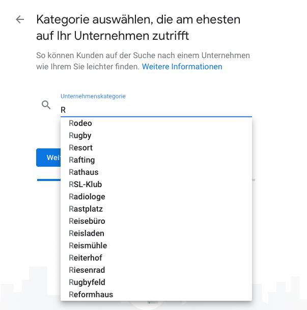 Google My Business Kategorie auswählen