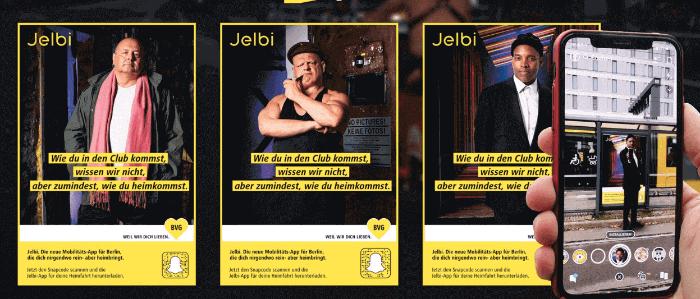 Snapchat Aktion von BVG – Jelbi in Augmented Reality Postern