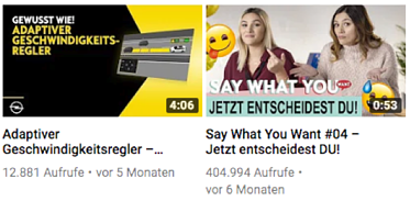 SEO-fuer-YouTube-Beispiel-Opel - Thumbnails