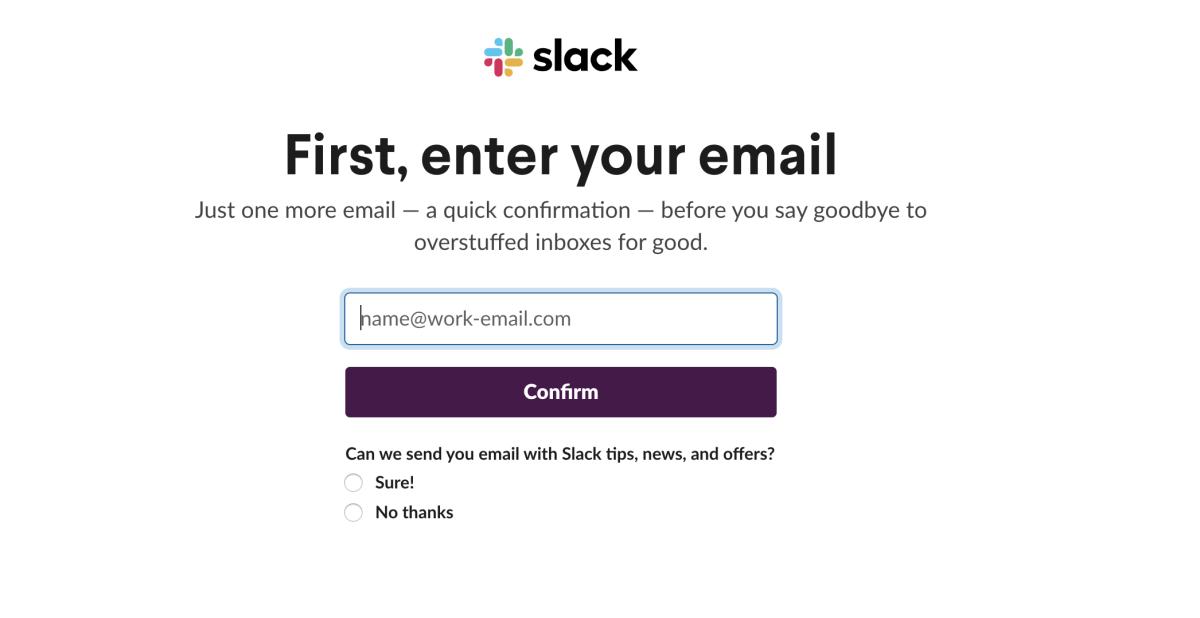Emailadresse bei Slack eingeben
