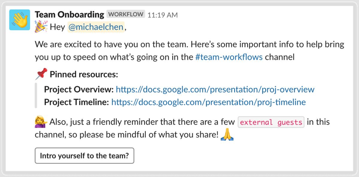 Slack workflows