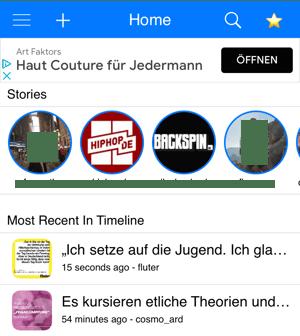 Auflistung aktueller Stories und Beiträge bei Reshare Story for Instagram