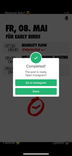 """Auf """"Go To Instagram"""" tippen, um den Prozess abzuschließen."""