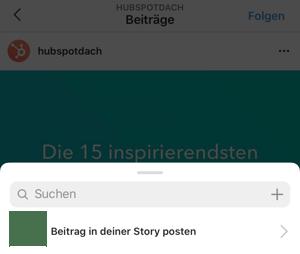Papierflieger unter einem Beitrag auswählen und Beitrag in der Story posten