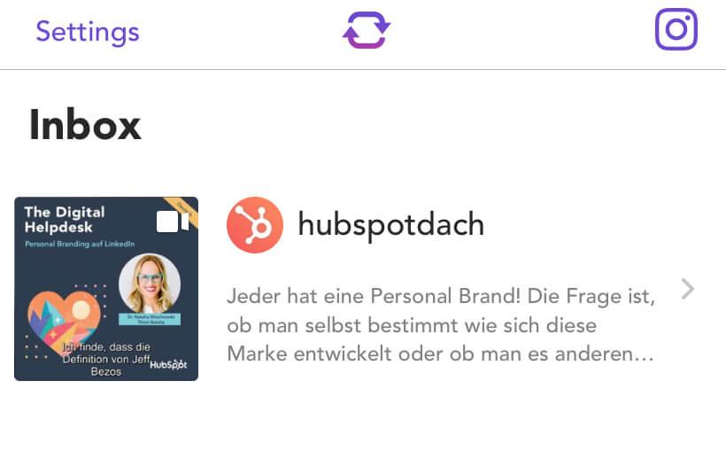 """""""Inbox"""": Instagram-Beitrag zum Reposten inklusive Accountnamen und Bildunterschrift."""