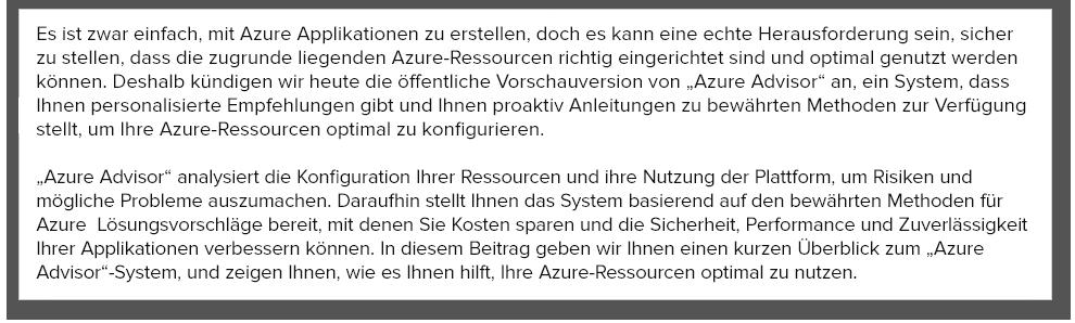Ankündigung der öffentlichen Vorschauversion von Azure Advisor