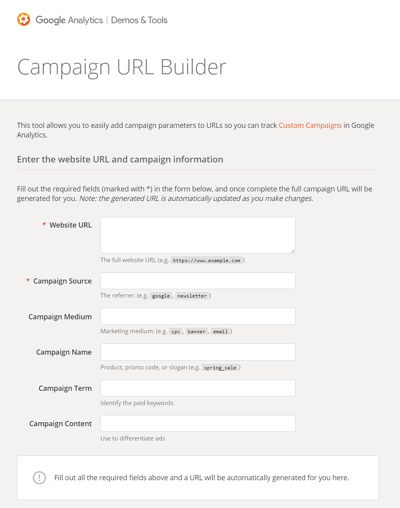 Der URL Builder von Google Analytics