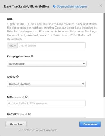 Details für Tracking-URL angeben