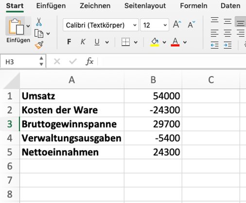 Wasserfalldiagramm mit Excel Wertetabelle