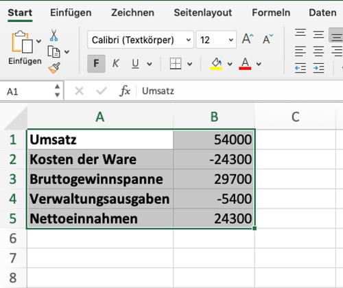 Wasserfalldiagramm mit Excel 2 wertetabelle auswählen