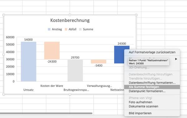 Wasserfalldiagramm-mit-Excel- zwischensumme und endsumme