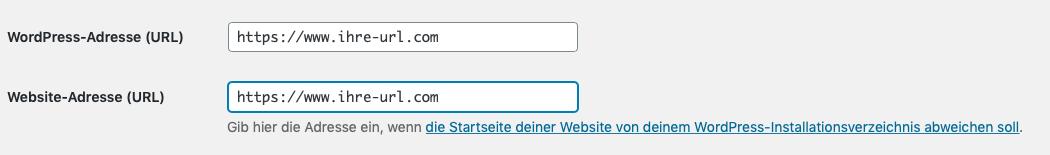WordPress neue domain eintragen