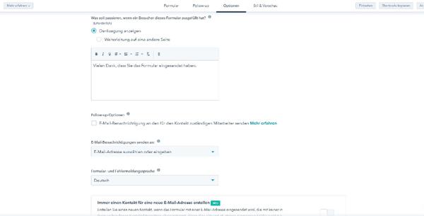 WordPress_Kontaktformular weitere Einstellungsmöglichkeiten