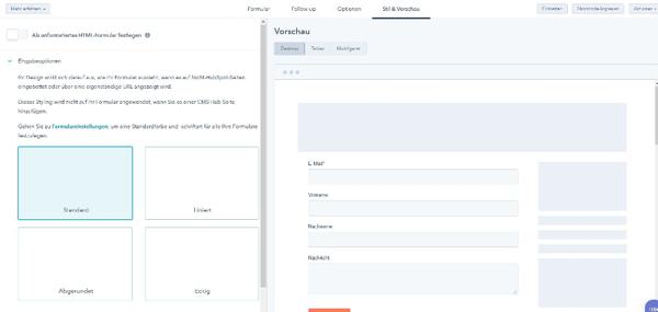 WordPress_Kontaktformular Stil und Vorschau
