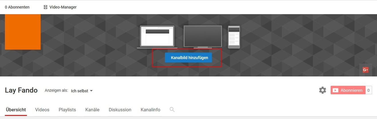 YouTube – Kanalbild hinzufügen