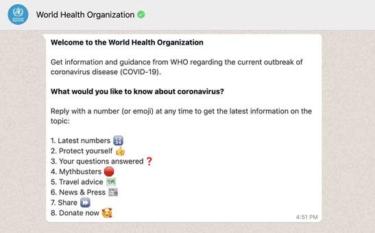 chatbot der WHO beispiel