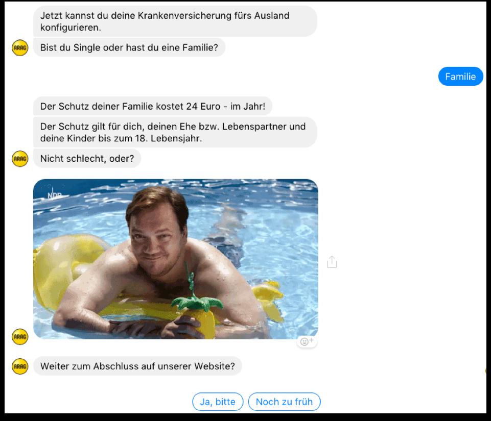 """Auszug aus einem Chatverlauf mit dem """"ARAG Reiseassistent"""""""