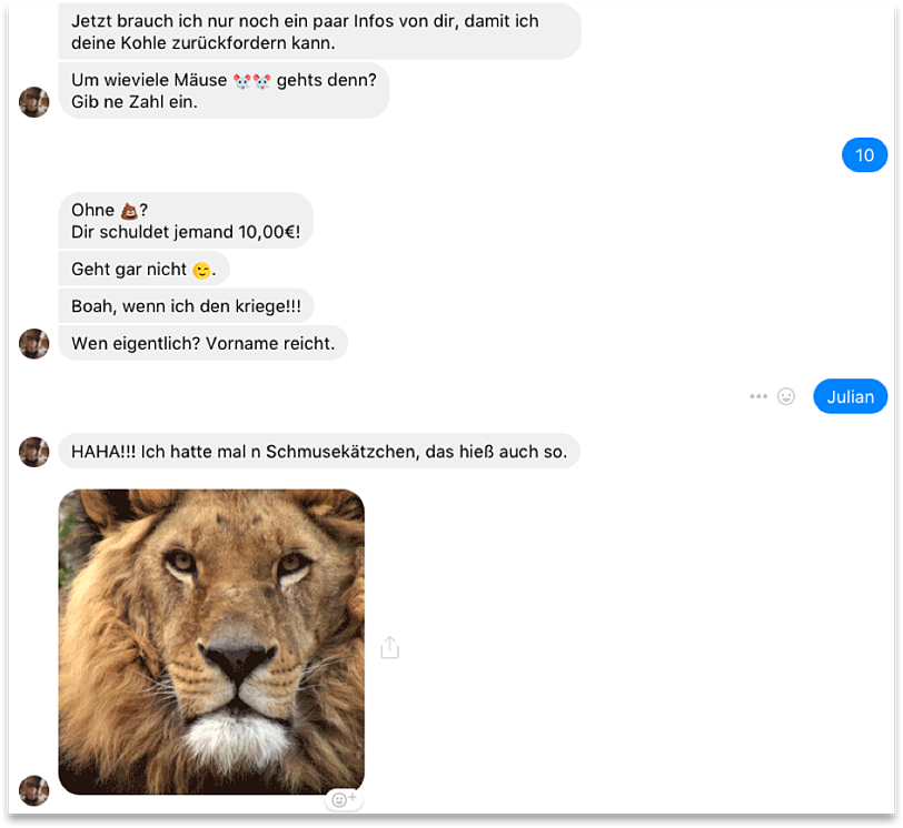 """Auszug eines Chatverlaufs mit dem Sparkassen-""""Boten"""""""