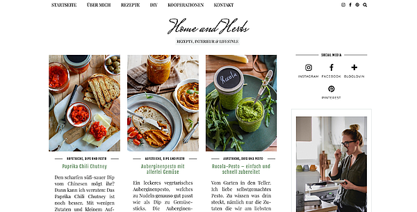 Home and Herbs Webseite