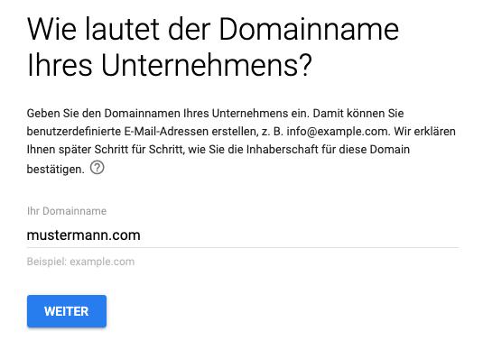 g suite leitfaden domain des unternehmens