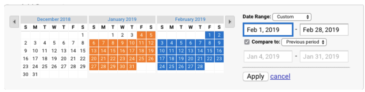 google analytics kalender datum auswaehlen