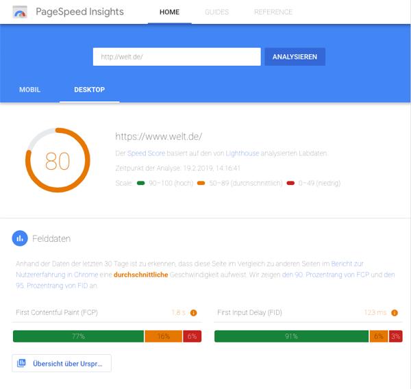 google-pagespeed-insights-welt