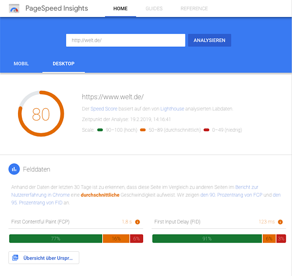 google-pagespeed-insights-welt