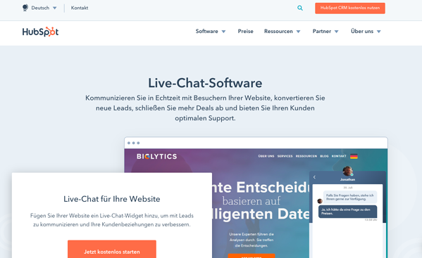 landing-page-optimierung-hubspot-kostenloses-live-chat-tool