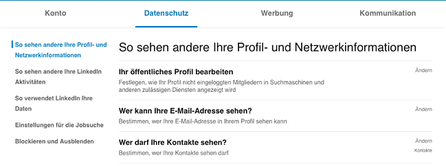LinkedIn-Kontakte exportiere datenschutzeinstellungen
