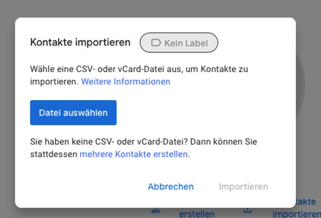 LinkedIn-Kontakte exportieren: Gmail CSV hochladen