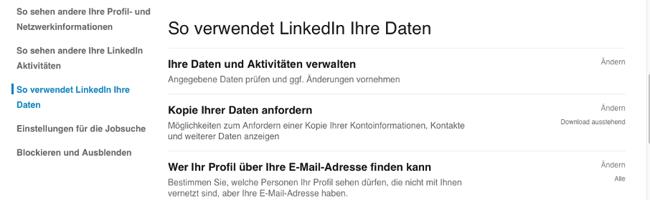 LinkedIn-Kontakte exportieren so verwendet linkedin ihre daten