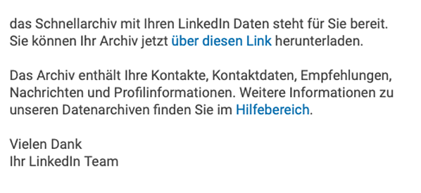 LinkedIn-Kontakte exportieren benachrichtigungs-e-mail