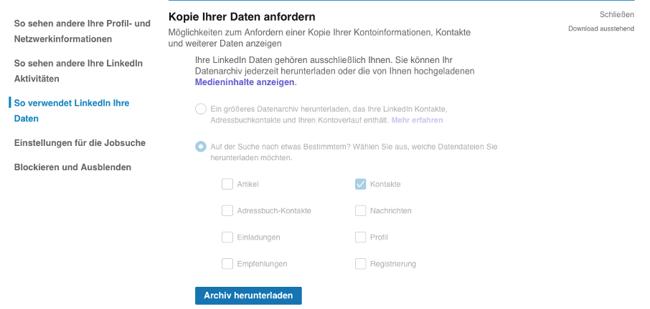 LinkedIn-Kontakte exportieren kopie ihrer daten anfordern