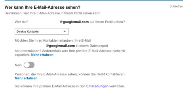 LinkedIn-Kontakte exportieren wer kann ihre e-mail-adresse sehen