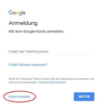 Google-Konto erstellen