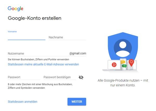 Google-Konto erstellen – Angaben