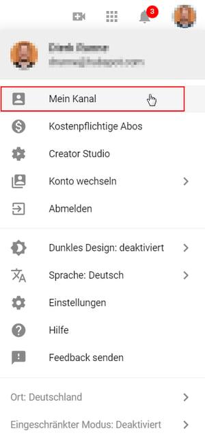 Mein Kanal im Accountmenü von YouTube