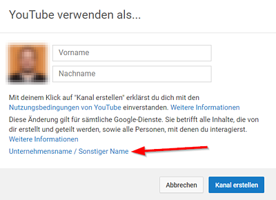YouTube – Anderen Namen verwenden