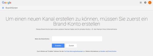 Google Brand-Konto erstellen