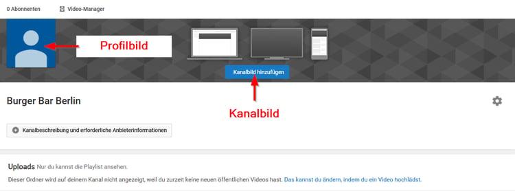 Kanalbild und Profilbild anpassen