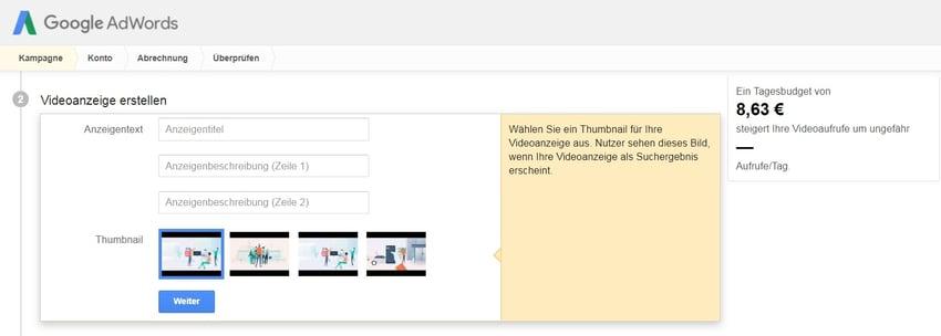 Auswahl eines Thumbnails für eine Video-Kampagne