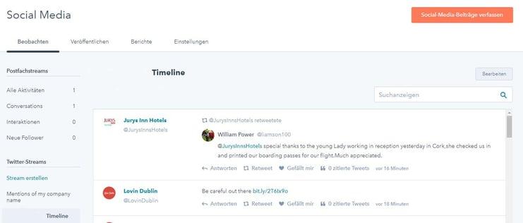 HubSpot Social-Media-Monitoring