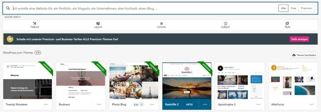 HubSpot Wordpress Website Theme-Suche